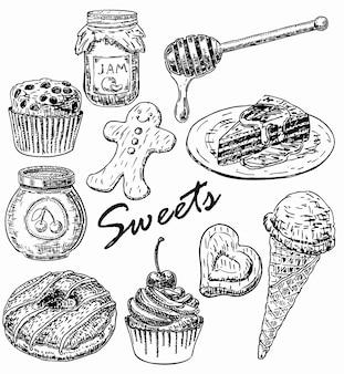 Conjunto de dulces de estilo dibujado a mano