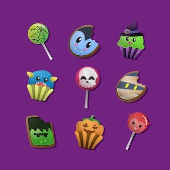 Conjunto de dulces y galletas de fiesta de halloween