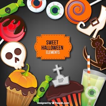Conjunto de dulces de halloween realistas