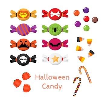 Conjunto de dulces de halloween.