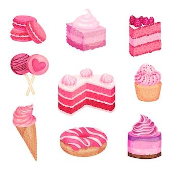Conjunto de dulces horneados rosa aislado en blanco