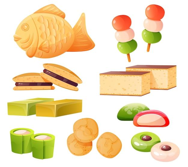 Conjunto de dulces japoneses