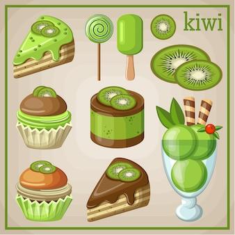 Conjunto de dulces con kiwi. ilustración vectorial