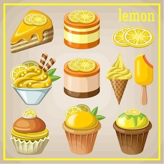 Conjunto de dulces con limón. ilustración vectorial
