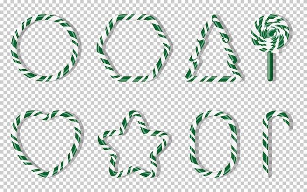 Conjunto de dulces de navidad con forma de espiral de forma diferente. green treat vacaciones de invierno. dulce azúcar dibujos animados noel candy cane, abeto, estrella, corazón, piruletas. ilustración de fondo transparente