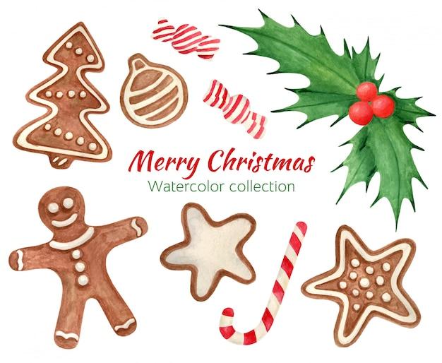 Conjunto de dulces navideños de acuarela con pan de jengibre y hojas de acebo