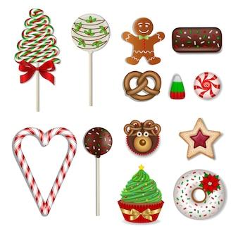 Conjunto de dulces navideños aislados piruletas caramelos chocolates galletas y pasteles