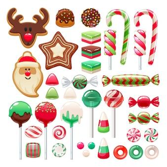 Conjunto de dulces navideños. caramelos y galletas surtidos.