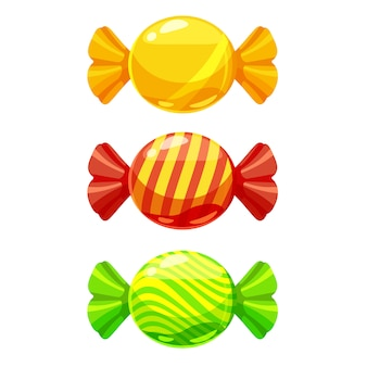 Un conjunto de dulces en un paquete de diferentes colores.