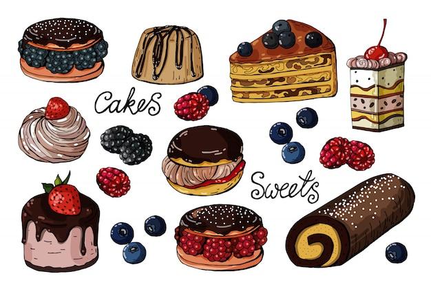 Conjunto de dulces y pasteles aislados