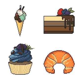 Conjunto de dulces postres pixel art sobre fondo blanco