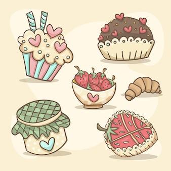 Conjunto de dulces románticos