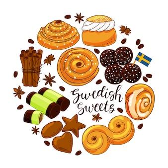 Un conjunto de dulces suecos sobre un fondo blanco aislado.