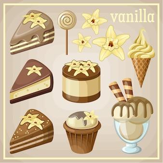 Conjunto de dulces de vainilla. ilustración vectorial