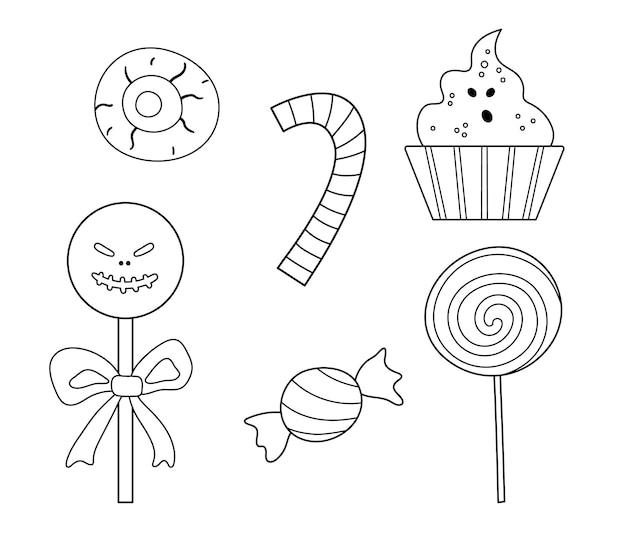 Conjunto de dulces vectoriales en blanco y negro para juego de truco o trato. comida tradicional de fiesta de halloween. paletas de miedo, caramelo, colección de palitos de caramelo. pack de postres fantasma en forma de calavera.