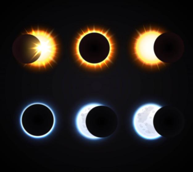 Conjunto de eclipse de sol y luna
