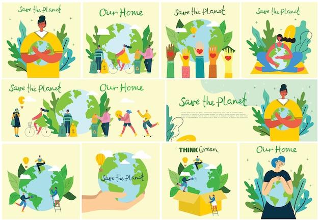 Conjunto de eco guardar imágenes del medio ambiente. personas cuidando collage del planeta. cero desperdicio, piensa en verde, salva el planeta, nuestro texto escrito a mano en el diseño