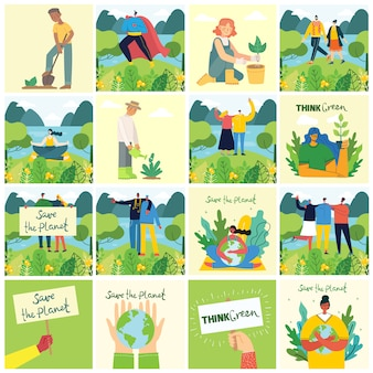 Conjunto de eco guardar imágenes del medio ambiente. personas cuidando collage del planeta. cero desperdicio, piensa en verde, salva el planeta, nuestro texto escrito a mano en el hogar en el diseño plano