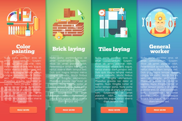Conjunto de edificación y construcción s. y renovación conceptos de diseño vertical. estilo moderno.