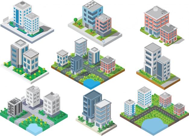 Conjunto de edificio de la ciudad isométrica