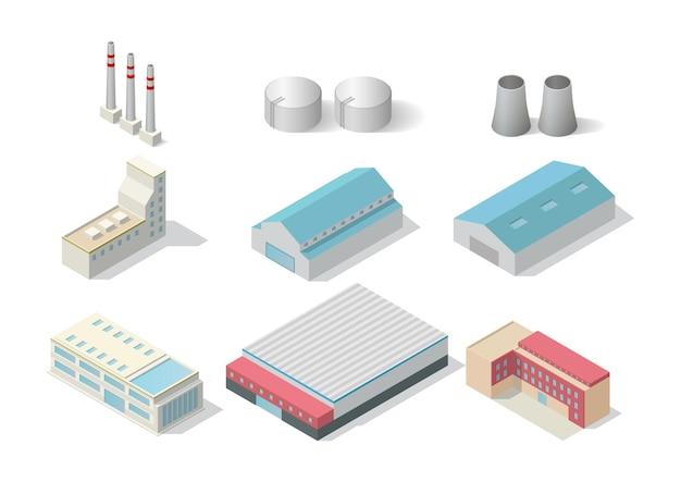 Conjunto de edificio industrial isométrico aislado en blanco