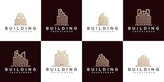 Conjunto de edificio de lujo logo monoline