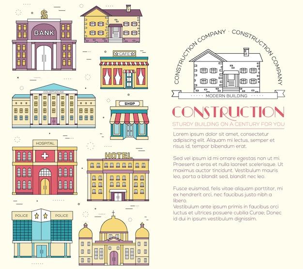 Conjunto de edificios de la ciudad colorida de líneas finas