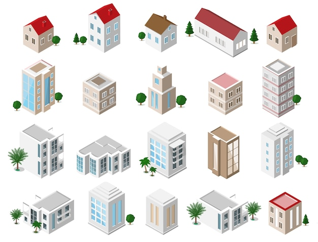 Conjunto de edificios de la ciudad isométricos detallados: casas privadas, rascacielos, bienes raíces, edificios públicos, hoteles. colección de iconos de construcción