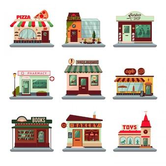 Conjunto de edificios coloridos de la ciudad