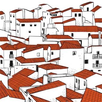 Conjunto de edificios dibujados a mano