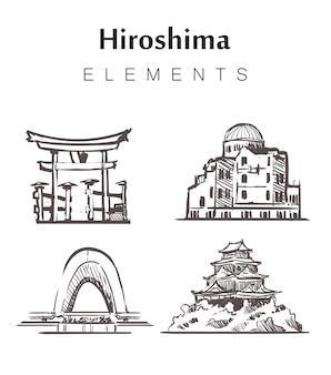 Conjunto de edificios de hiroshima dibujados a mano.