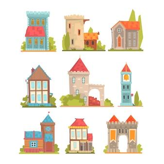 Conjunto de edificios históricos antiguos y medievales de torres de arquitectura europea, fortificaciones y casas de la ciudad