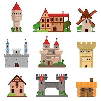 Conjunto de edificios históricos medievales de diferentes países de ilustraciones de dibujos animados