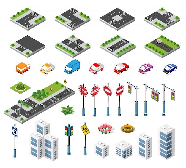 Conjunto de edificios isométricos alberga iconos del módulo de bloques