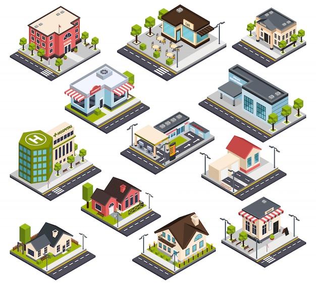 Conjunto de edificios isométricos de la ciudad