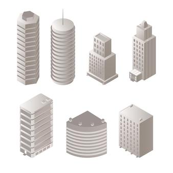 Conjunto de edificios isométricos urbanos s