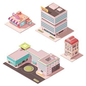 Conjunto de edificios isométricos.