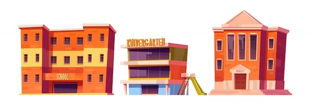 Conjunto de edificios de jardín de infantes, escuela y universidad.