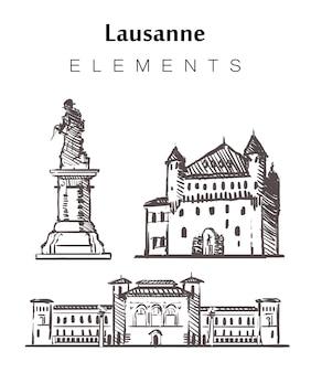 Conjunto de edificios de lausana dibujados a mano.