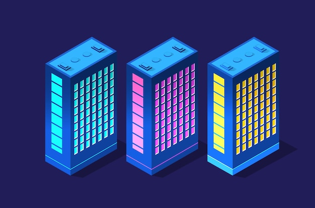Conjunto de edificios modernos isométricos.