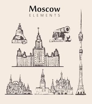 Conjunto de edificios de moscú dibujados a mano.