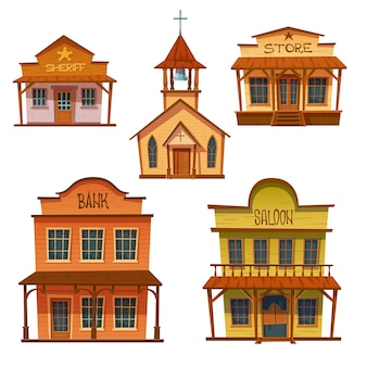 Conjunto de edificios del salvaje oeste, diseño de estilo vaquero.