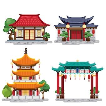 Conjunto de edificios tradicionales chinos