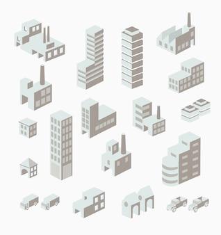 Un conjunto de edificios urbanos e industriales en la isométrica.