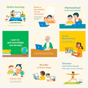 Conjunto de educación vectorial de plantilla editable de aprendizaje en línea