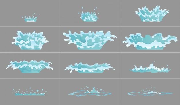 Conjunto de efecto de agua goteando