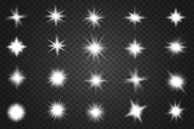 Conjunto de efecto de luz transparente blanco resplandor aislado.