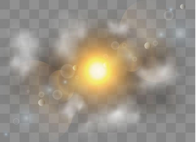 Conjunto de efecto de luz transparente brillante, explosión, brillo, chispa, destello solar. niebla o humo aislado efecto especial transparente. nubosidad blanca, niebla o smog