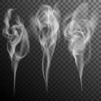 Conjunto de efecto realista de ondas de humo de cigarrillo aislado.