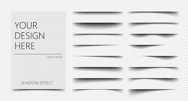 Conjunto de efecto de sombra realista sobre un fondo transparente de diferentes formas, separación de páginas